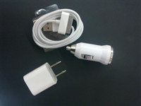 Wholesale combine sale Charger Kit USB Wall Charger amp Sync Data Cable amp car charger for iPhone G S free post