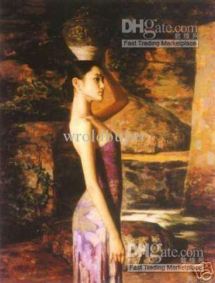 2017 Chinese Arts Oil Painting Beautiful Woman Sz: 24*36inches ...