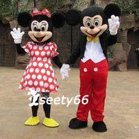 Wholesale Classic Partner Pair Mickey Minnie Mouse Mascot Cartoon Costumes Fancy Dress Suit
