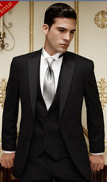 Wholesale Groom Tuxedos Best man Suit Wedding Groomsman Men Suits Notch Collar Jacket Pants Tie Vest G27D