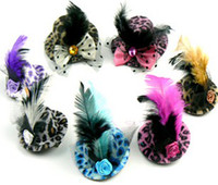 Wholesale Christmas Party Mini Top Hat Feather Hair Clips Hair Fascinator Hot Leopard Design Colors Mixed