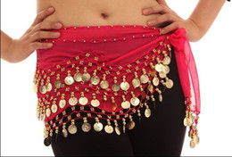 Wholesale 60PCS Party Clothes Belly Dance Wear Costume Wave Skirt Belts Golden Coins Colors D01F