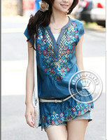 Wholesale MONDE new fashion Korean V NECK women dress short sleeve dresses women Chiffon BLUE M25