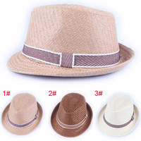 Wholesale 10pcs Solid Color Baby Straw Fedora Hat Kids Summer Straw Cowboy Hat Boys Girls Sun Cap Topee Jazz Cap