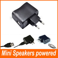 Wholesale USB Mini Speakers powered AC Power Supply Adapter PDA DV Mp3 Mp4 Charger Adapter V mA EU Plug