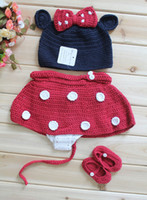 Wholesale Minnie Mouse hat with Red Bow Diaper Cover and Shoes to Match Handmade Baby Clothing Set Baby Wear