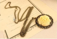 Women's Brass,Copper Pendant Necklaces wholesale-new sell Elegant Vintage Cream Rose Disk Pierced Lace Necklace fashion women's necklace