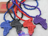 Wholesale maxi HIP HOP goodwood Africa map pendant necklace wooden Beads Goodwood HIPA necklace jewelry