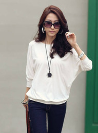 MONDE new fashion Korean women T-shirt sexy loose round neck long-sleeved T-shirts blouse white