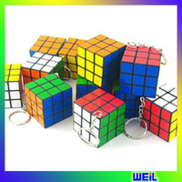 Wholesale cm plastic magic cubes pendant key chain WEIL