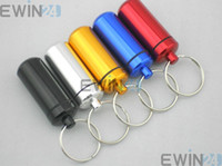 48*17mm Aluminum Pill Box Case Bottle Holder Container Keych...