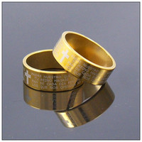 bible wedding rings - Spanish Bible Lord s Prayer Cross Ring Gold Tone Stainless Steel Rings Fashion Religious Jewelry
