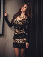 Wholesale 2012 Women s Fashion Leopard Print Lace Trim Party Mini Dress ngnvbnb