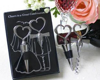 Wholesale Freeshipping Heart lover design Wine Set for wedding gift bottle opener and stopper