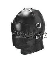 bondage mask - Hot Sex product Soft leather bondage Mask eyepatch gagged Headgear Adult sex toys bed game set
