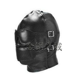 Wholesale Hot Sex product New Soft leather bondage Mask eyepatch gagged Headgear Adult BDSM sex toys bed game set