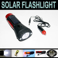 Wholesale solar flashlight hand cranking with car charge led rechargeable by car adapter amp sunlight