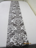 Wholesale beautiful wedding table runner damask flocking black and white runner one piece per