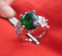 Wholesale Size Lady s Jewelry ct green gemstone Quartz white Gold Filled Ring wedding ring