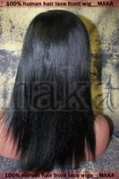asian jets - Fashion Lace Front Wig with stretch lace back quot Indian Remy Hair Jet black Yaki straight