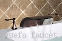 Wholesale 2012 New Arrival Deck Mounted Oil Rubbed Bronze Waterfall Bathtub Faucet R