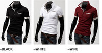Men Cotton Polo 2012 HOT New Men's Casual Slim Stylish Grid spell color Short Sleeve T-shirts #3337