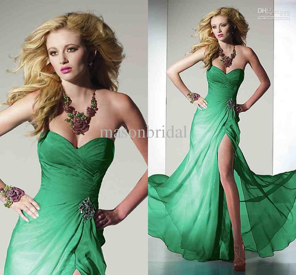 Evening Dresses for Annie's charries  Green-evening-dresses-a-line-sweetheart-long
