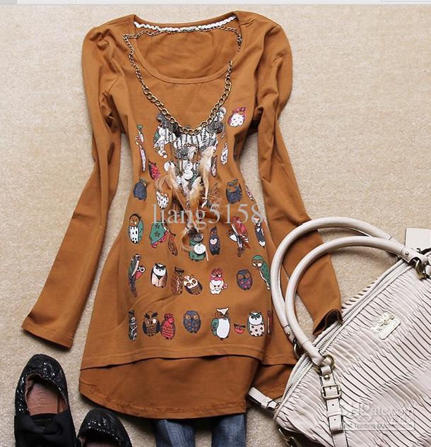 2012 women's new cute cartoon owl spring clothing design long money