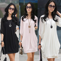 Wholesale Size M to XXXXL Fashion graceful gentlewomanly korean style bracelet sleeve dress summer chiffon dress