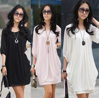 Casual Dresses xxxxl - Size M to XXXXL Fashion graceful gentlewomanly korean style bracelet sleeve dress summer chiffon dress