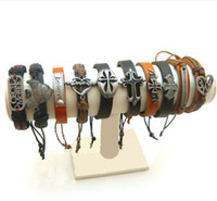 Wholesale Adjustable leather bracelets jewelry fashion genuine handmade braided bracelet Styles Colors Random