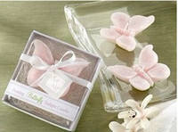 Wholesale 2012 New Arrival Creative Pink butterfly wedding candle Romantic gift with box