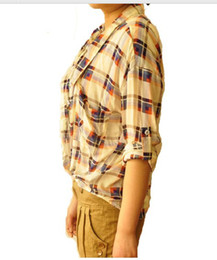 Wholesale 2012 the new spring clothing British bats plaid shirt sleeve shirt loose woman