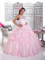 Wholesale Hot sale High Quality Halter Beaded Applique Ball Gown Organza Flower girl Dresses