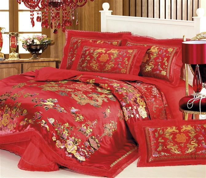 Chinese festive 100 cotton queen 39 s bedding quilt doone for Bride kitchen queen set
