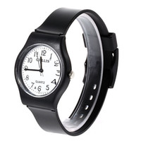 Digital Hardlex Analog 6018 Round Shaped Watch Dial Plastic Cement Watchband Wrist Watch (Black)