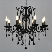 Wholesale European black wrought iron crystal light candle lights pendant lamp ceiling lamp CHD68011B