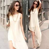 Casual Dresses Mini Dresses Summer Gently~New Womens Fashion Auymmetric Elegant Chiffon Vest Dress Pink Apricot Black