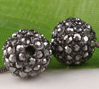 Wholesale 10pc Black Diamond AB Crystal Round Spacer Bead Charm BD316