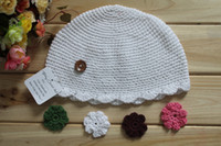 Wholesale Cream Organic Crochet Baby Hat with Interchangeable Flowers M DIY Baby Hat ZWH012 Sample order