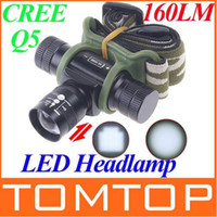 Wholesale 3 mode Adjustable Focus Beam CREE Q5 LED Headlamp led Light Flashlight Torch with li battery H4483