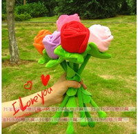Wholesale Elegant lover roses Massage on the back massage stick Plush toys birthday gift section