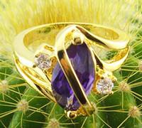Women's amethyst rings yellow gold - Women KT yellow Gold filled Ring amethyst gemstone alexanrite crystal Quartz zircon Wedding ring