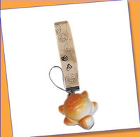Wholesale 10pcs cute QQ expression bread with sweet smell mobile phone strap chain keychain