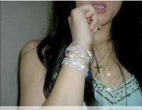 Wholesale wedding Crystal Stretch bracelets silver shiny Chain Bracelet promotion gift