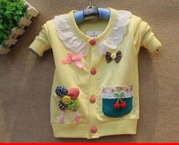Wholesale spring autumn girl s clothes baby clothing kids clothes baby flower bow Sweaters girl s coat pc
