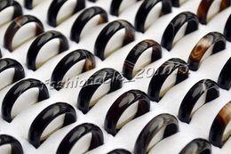 wholesale lots black smooth Natural agate gemstone Black 50pcs rings 17-19mm FREE