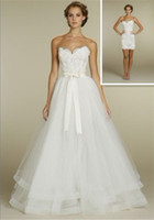 Panel sexy mini wedding dress - NEW Sexy Ball Gown lace mini dress tulle overskirt with chapel train Wedding Dresses Dress