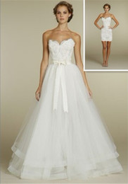Wholesale NEW Sexy Ball Gown lace mini dress tulle overskirt with chapel train Wedding Dresses Dress