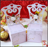 Wholesale DIY Flower Chair Candy Boxes Place Card Wedding Favor Party Gift Holders Bags Wraps Cardboard Cases
